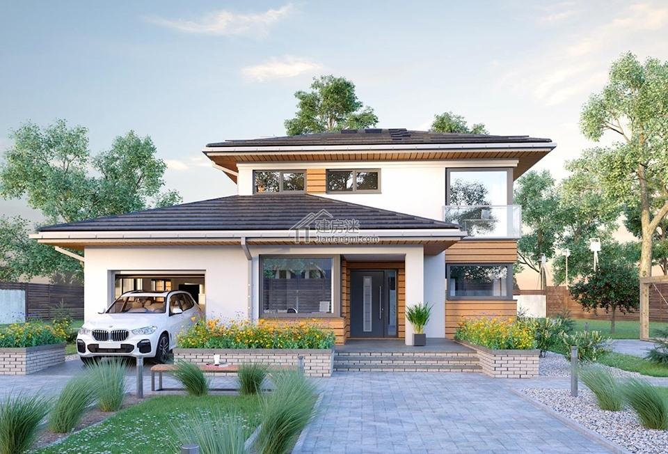 农村自建房欧式现代风格12米X15米两层亚博体育苹果下载中心设计图