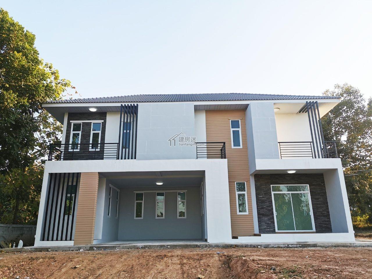 建房迷农村自建房15X10米东南亚风格两层现代风格亚博体育苹果下载中心设计图