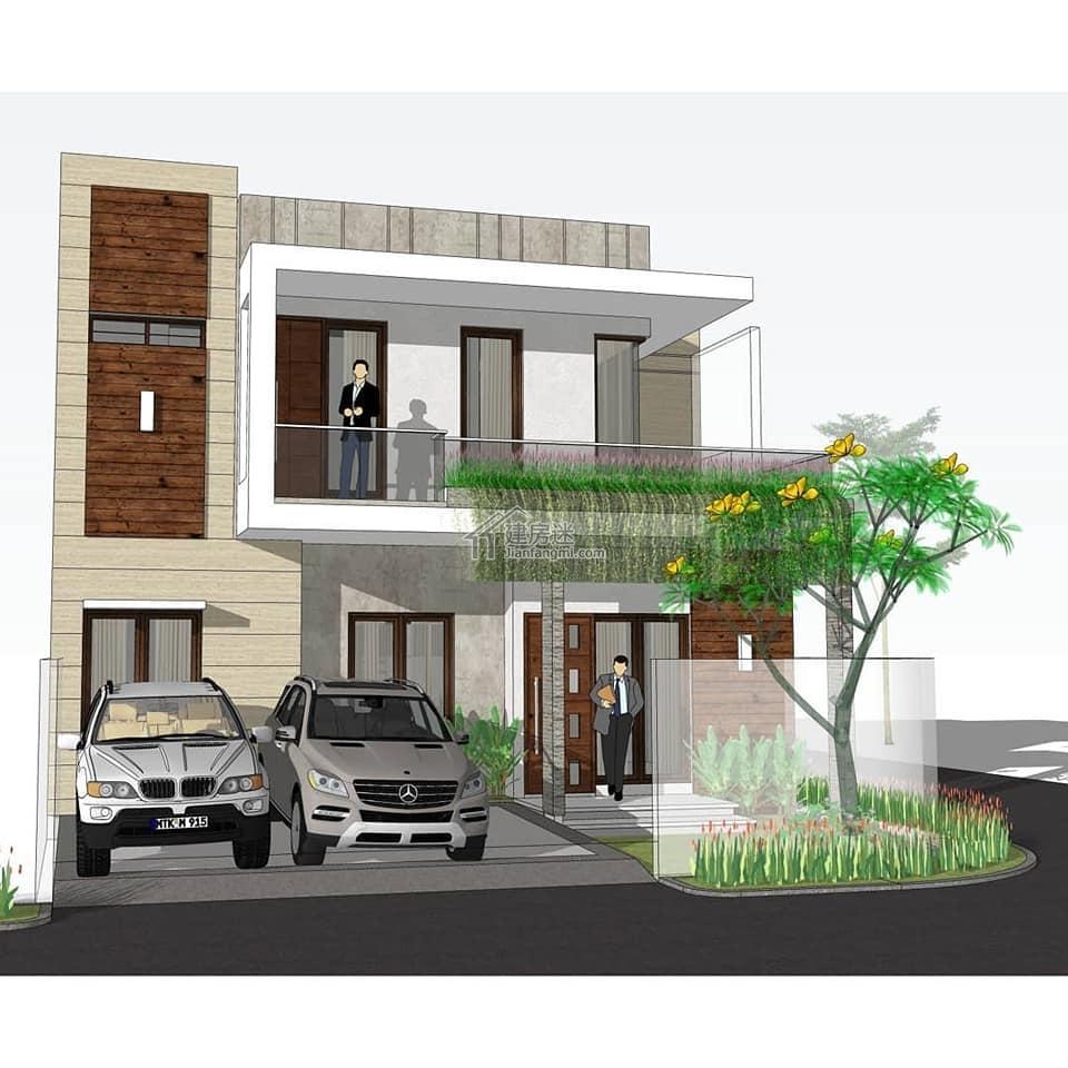 农村自建房设计10米X11米两层建面184平米现代风格两层平顶亚博体育苹果下载中心设计图