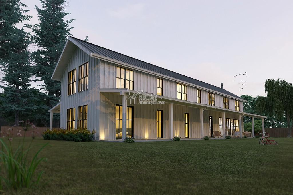 经典美式风格民宿设计27米X13米两层带挑高客厅亚博体育苹果下载中心设计图